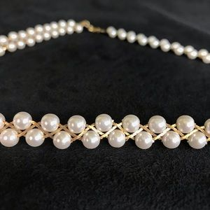 """Jewelry - Vintage Braided """"Cobra Chain"""" Faux White Pearls"""